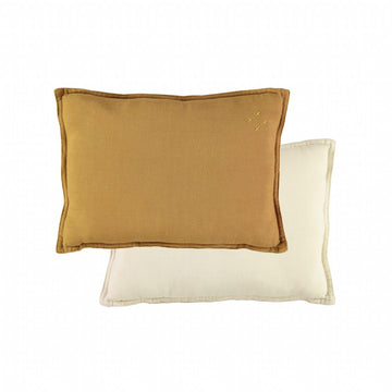 Camomile London Small Cushion - Gold/Stone Reversible