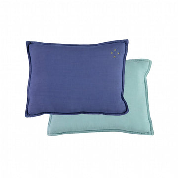 Small Cushion - Royal Blue/Light Teal Reversible