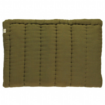 Cot Hand Quilted Blanket -Moss