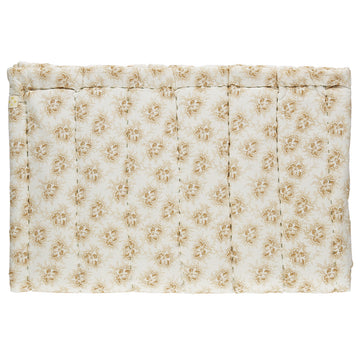 Cot Hand Quilted Blanket - Spot Floral Gold