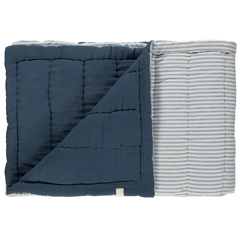 Cot Hand Quilted Blanket - Ticking Stripe Blue