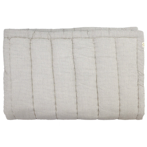 Narrow Single Hand Quilted Blanket - Double Check Grey