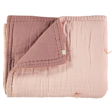 Cot Reversible Quilt Blanket - Powder Pink/Blush
