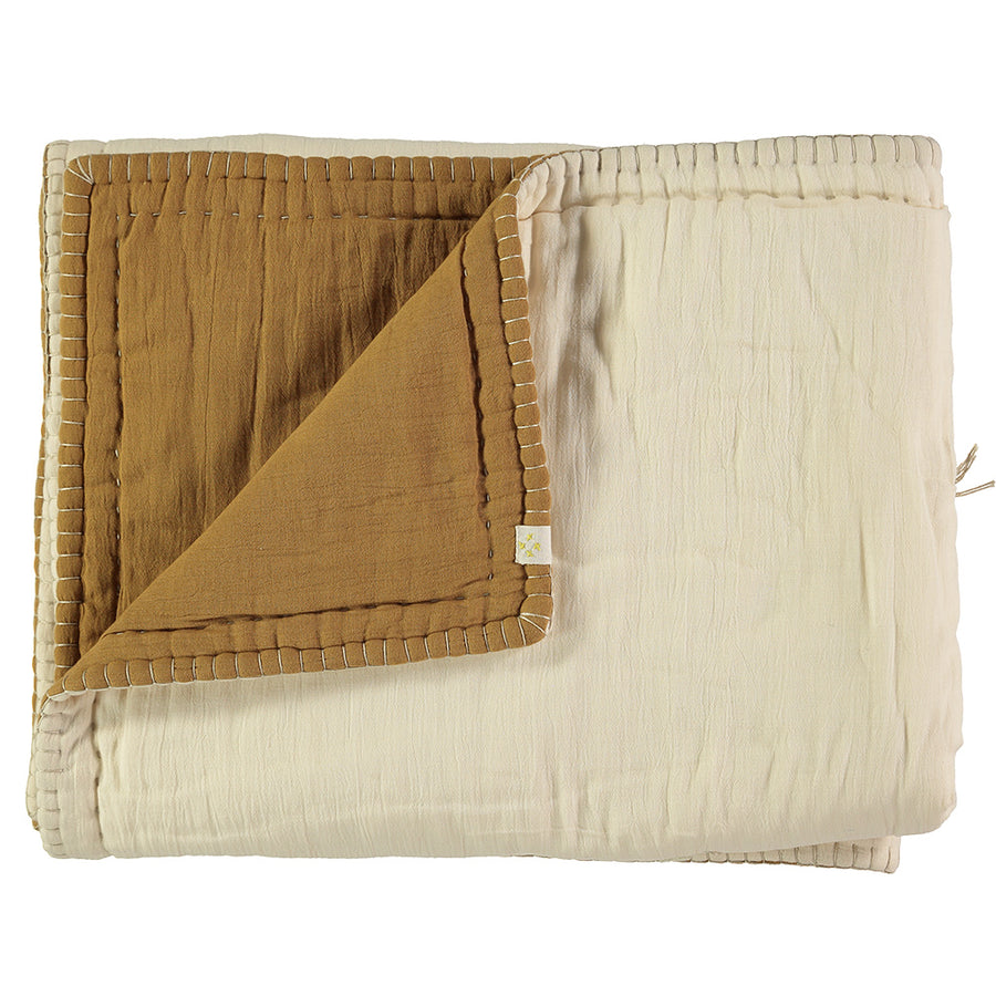 Cot Reversible Quilt Blanket- Gold/Stone