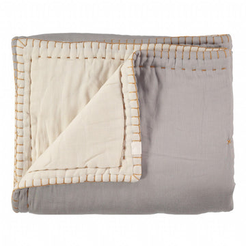 Cot Reversible Quilt Blanket - Smoke Grey / Stone