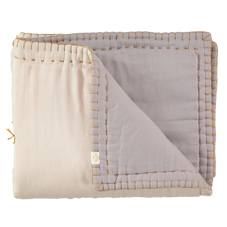 Camomile London Single Reversible Blanket -Smoke Grey/Stone