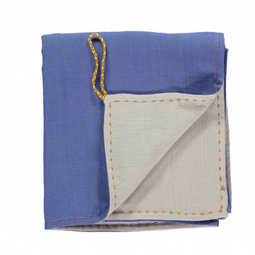 Camomile London Blanket Double Layer -  Royal Blue/Grey Reversible