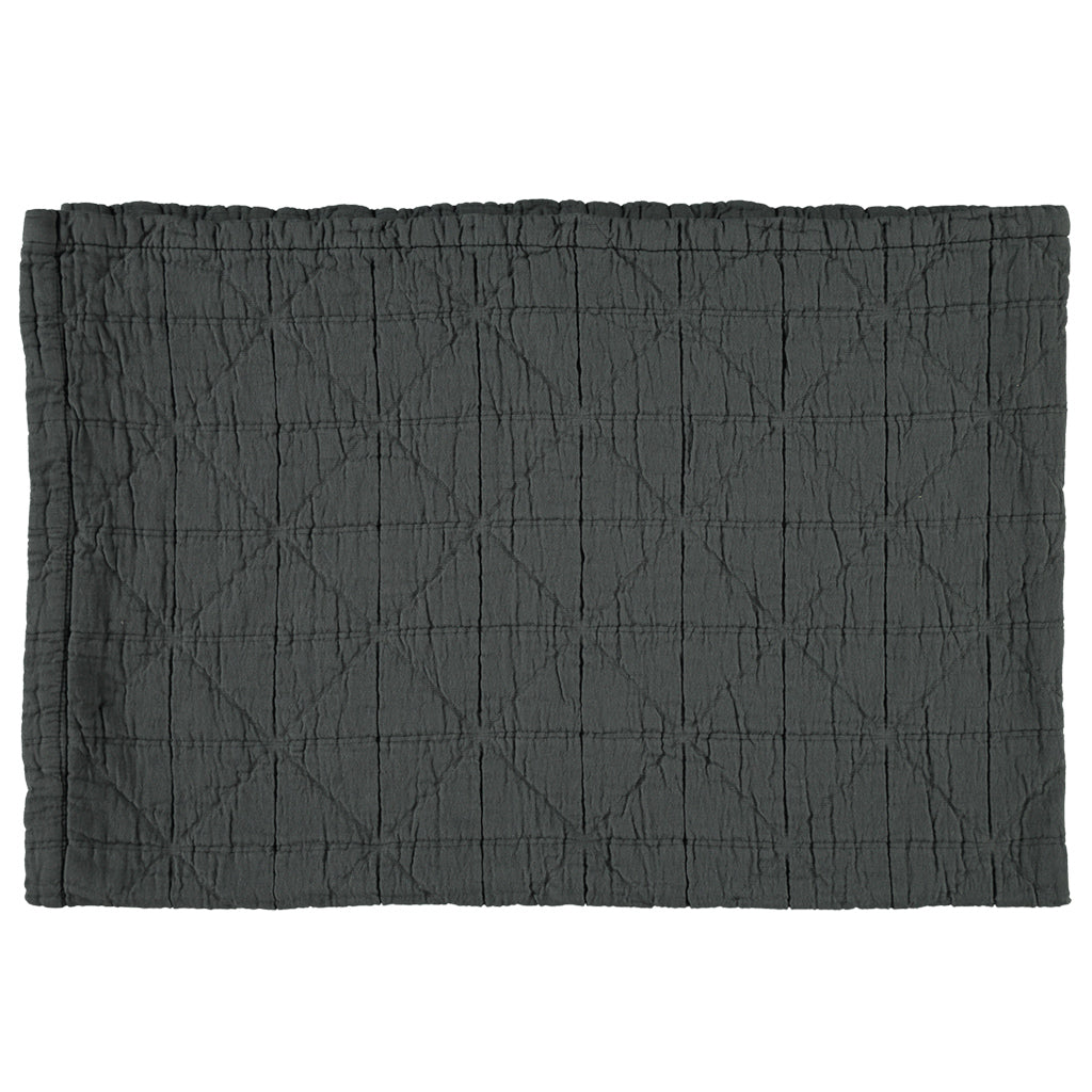 Large Cot Diamond Blanket - Charcoal