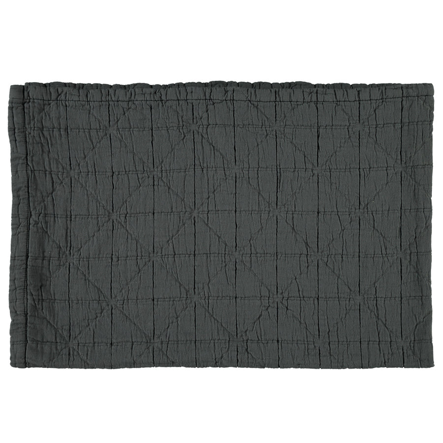Camomile London Small Cot Diamond Blanket - Charcoal