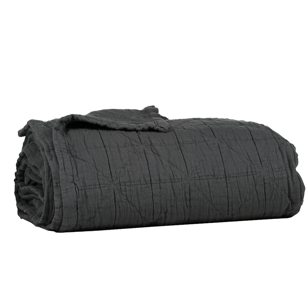 Small Cot Diamond Blanket - Charcoal