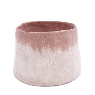 Bicolour Calabash Basket M - Natural/ Pink