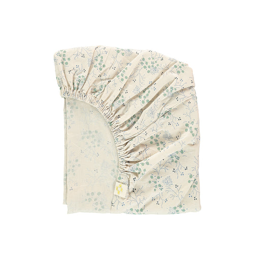 King Single Fitted Sheet, Floral Blue | Camomile London - Poeme Lifestyle
