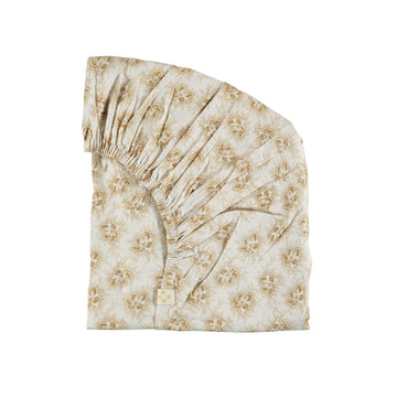 Cot Fitted Sheet - Spot Floral Gold