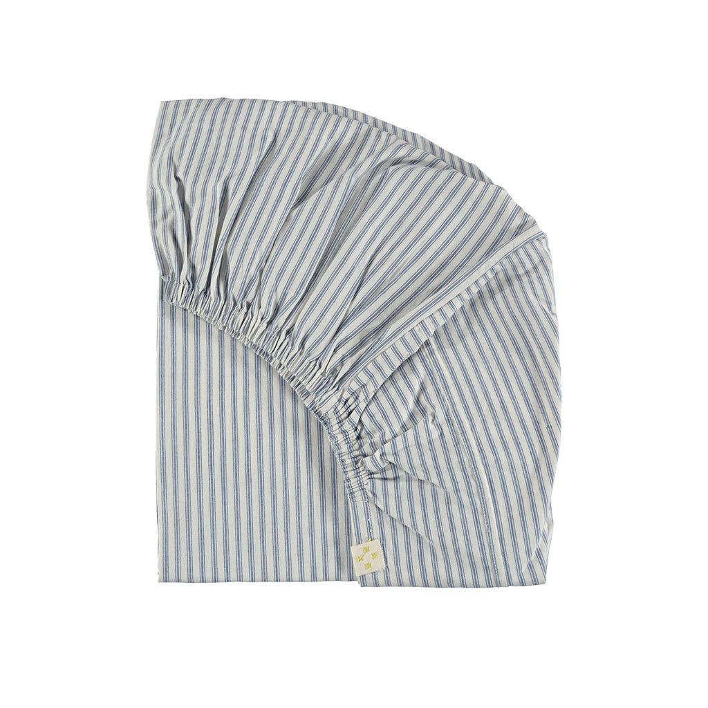 Single Fitted Sheet, Blue Stripe | Camomile London - Poeme Lifestyle