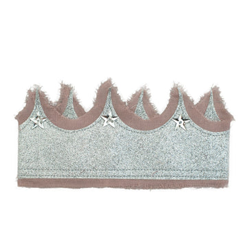 Glitter crown - Silver + dusty Pink