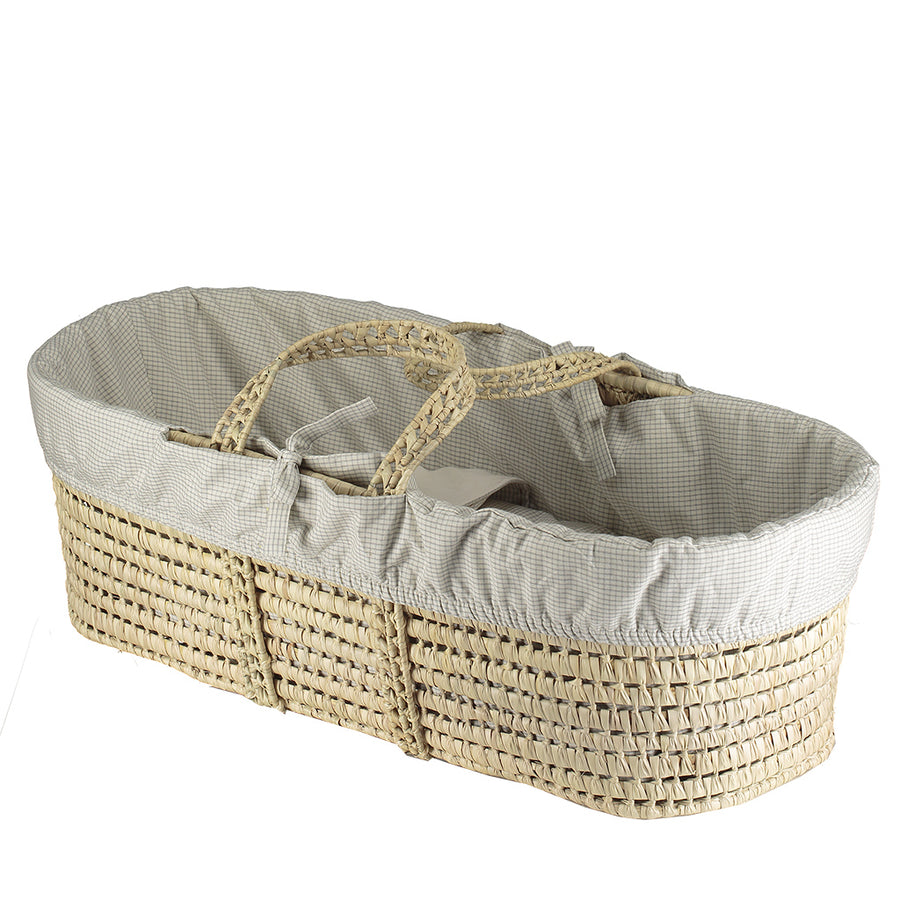 Moses Basket & Bedding Set - Double Check Grey