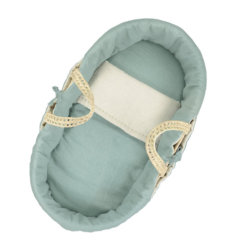 Moses Basket & Bedding Set - Light Teal/Stone Reversible