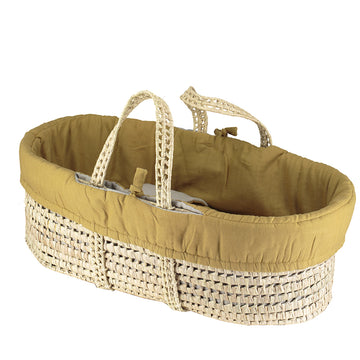 Moses Basket & Bedding Set - Ochre /Grey Reversible