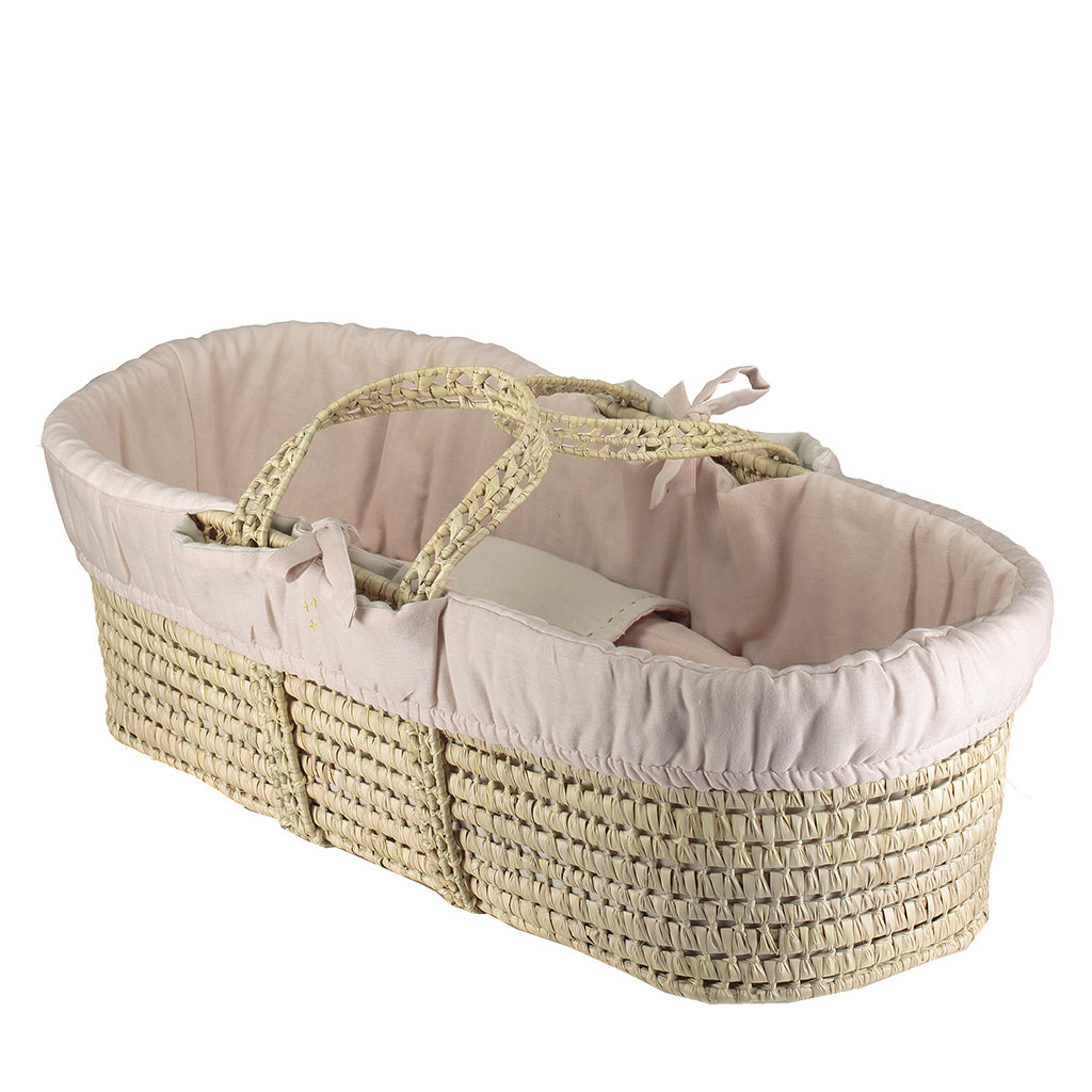 Moses Basket & Bedding Set - Pink/Stone Reversible