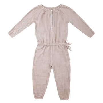 Poeme Lifestyle sells 100% organic cotton Naia jumpsuit for kids by Numero 74 online in Australia as a timeless clothing. Available in a range of earthy colors.