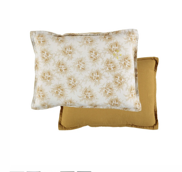 Camomile London Small Cushion - Spot Floral Gold Reversible