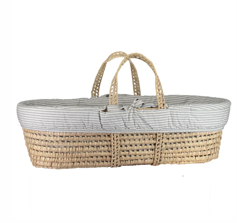 Moses Basket & Bedding Set - Ticking Blue