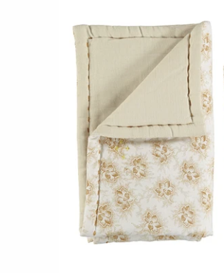 Camomile London Bassinet Blanket - Spot Floral Gold