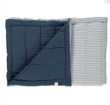 Single Hand Quilted Blanket - Ticking stripe Blue