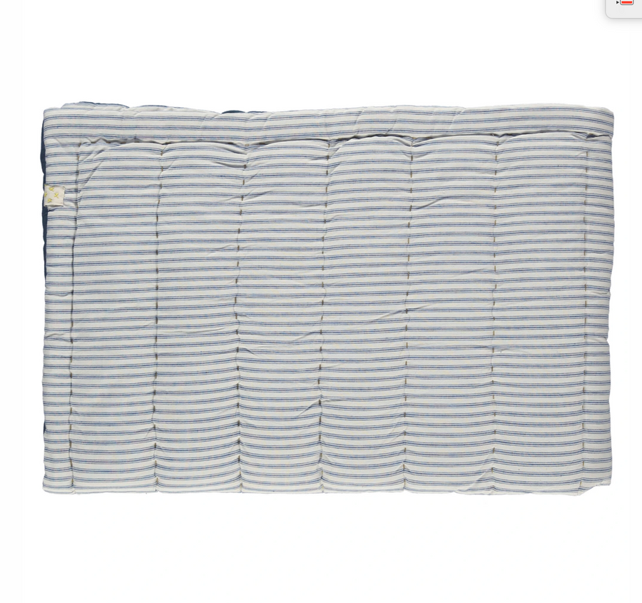 Camomile London Single Hand Quilted Blanket - Ticking stripe Blue