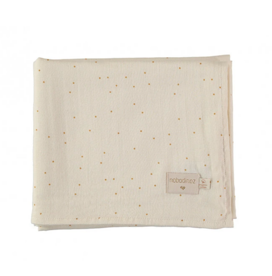 Swaddle Large - Natural with Gold dots