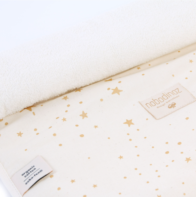 TRAVEL CHANGING PAD - NATURAL WITH GOLD STARS