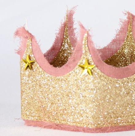 Glitter crown - gold + Rose Pink