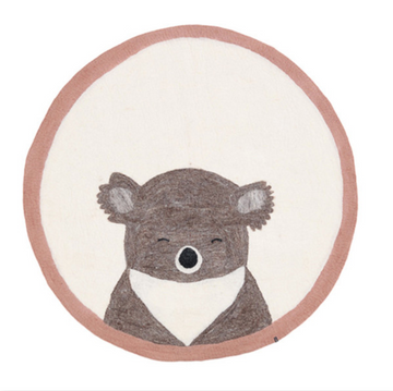 Muskhane Koala Felt Rug - Natural with Pink Border