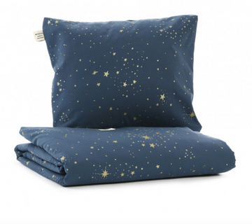 SINGLE QUILT DUVET COVER - NIGHT BLUE WITH GOLD STARS