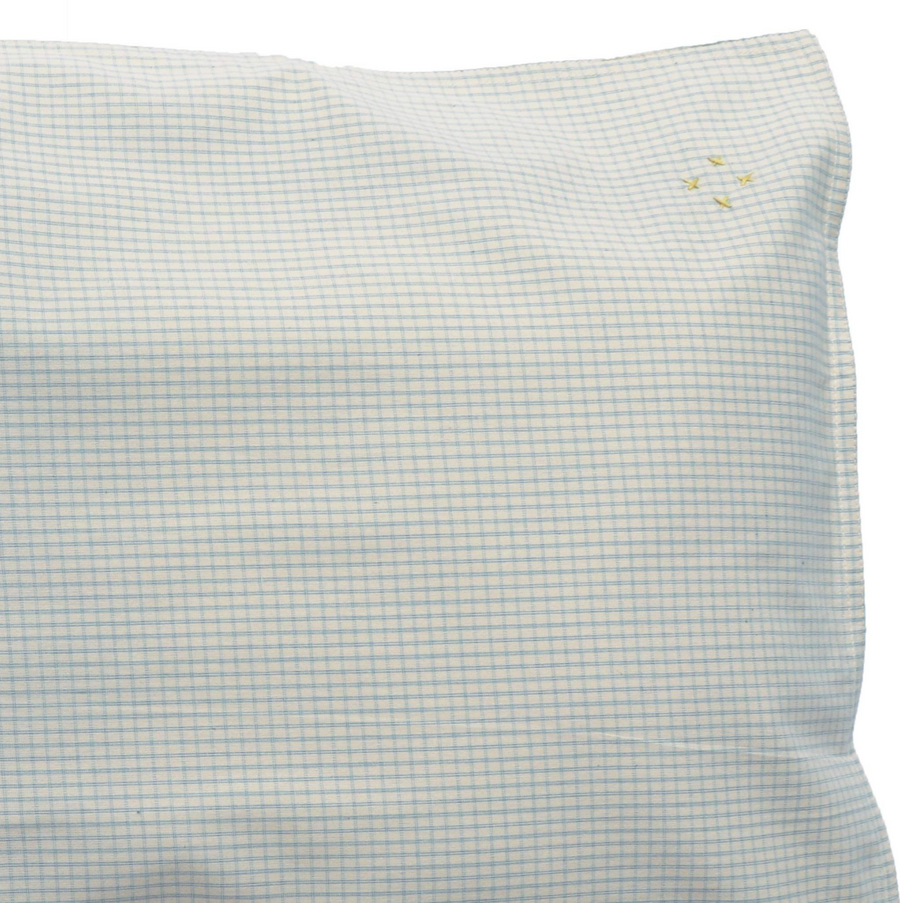 Camomile London standard pillowcase - double check blue