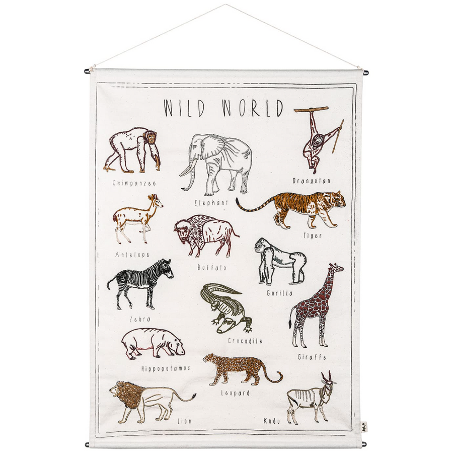 Numero 74 Embroidered School Poster Wild Animal