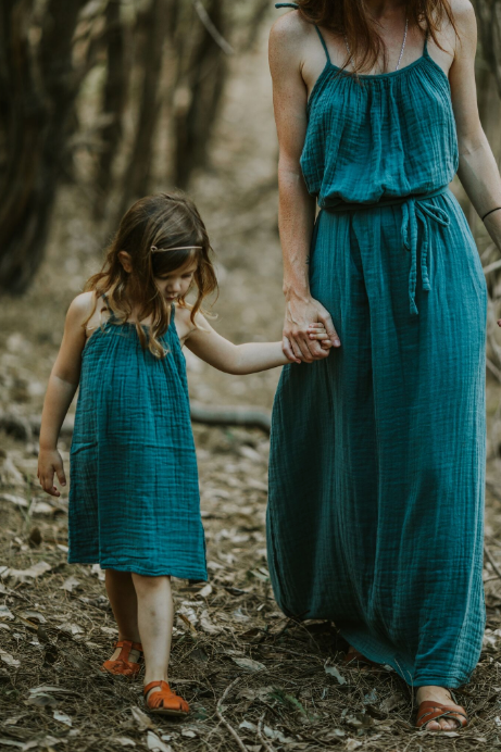 Mia Long Dress Mum - Teal Blue
