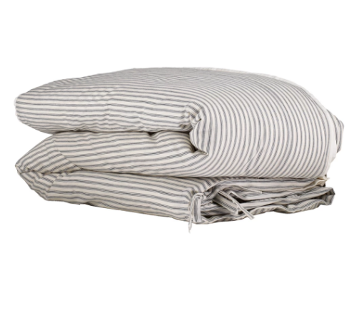 Single Quilt Cover, Charcoal Stripe | Camomile London - Poeme Lifestyle