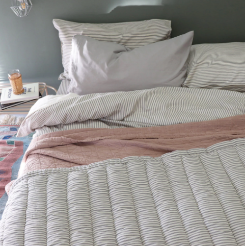 Double Quilt Cover, Charcoal Stripe | Camomile London - Poeme Lifestyle