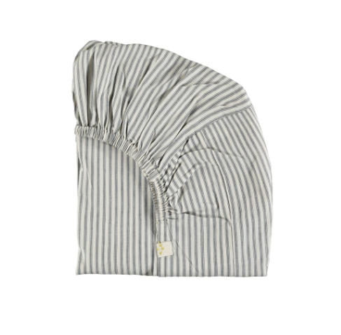 Single Fitted Sheet, Charcoal Stripe | Camomile London - Poeme Lifestyle