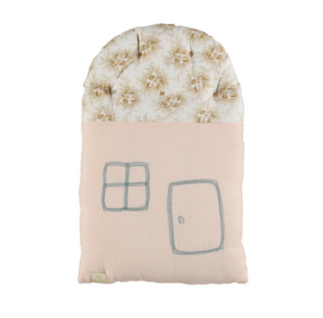 Camomile London Small House Cushion  - Powder Pink/Spot Floral Gold