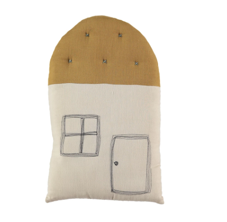 Small House Cushion  - Stone/Gold