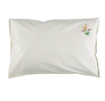 Standard Pillowcase - Pink/Orange Embroidered flowers