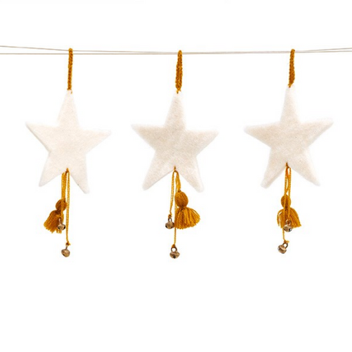 Mini Star with Pompon Set of 3 - Natural