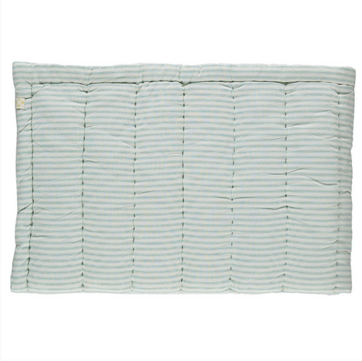 Cot Hand Quilted Blanket - Ticking Stripe Marine