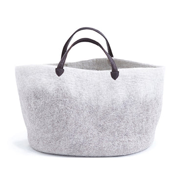 Felt Basket with handles - Light stone
