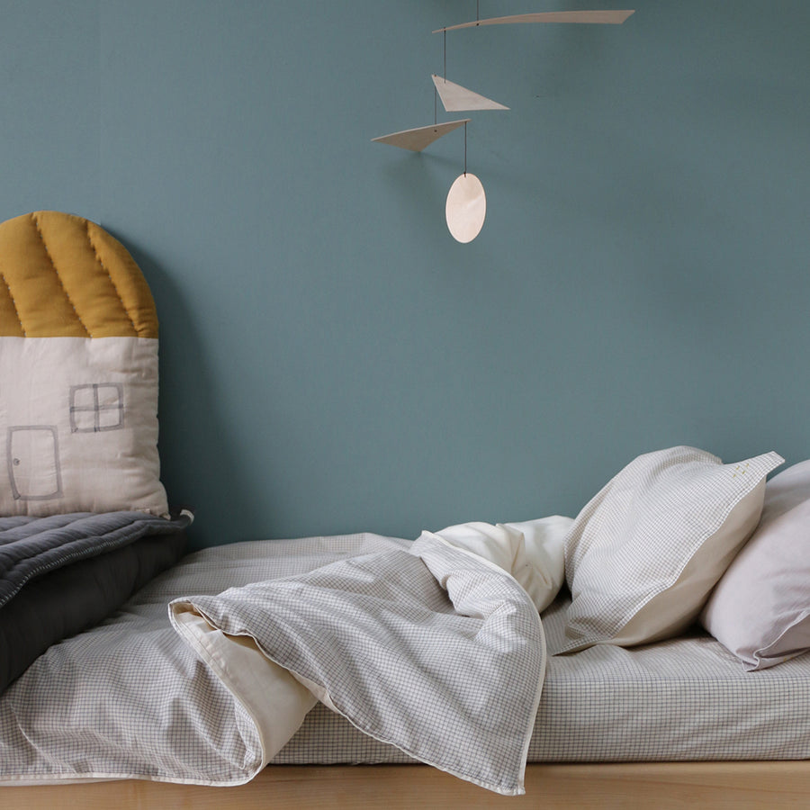 King Single Quilt Cover, Check Grey | Camomile London - Poeme Lifestyle
