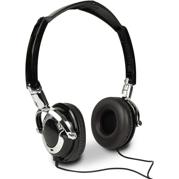 Dj Series On Ear Folding Computer Headphones W/Inline Microphone, Black