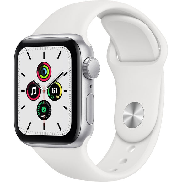 Apple Watch SE (GPS) 40mm Aluminum Case with White Sport Band, Silver