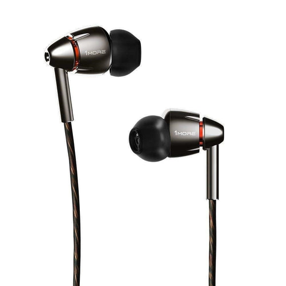 1MORE Quad Driver in-Ear Hi-Res High Fidelity Headphones (E1010), Silver/Gray